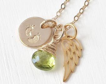 Infant Loss Necklace / Baby Footprints Angel Wing Birthstone Necklace Gold Fill / Stillborn Sympathy Gifts