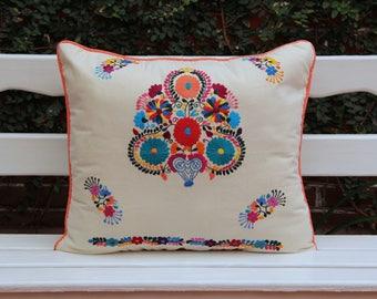 Beige and multi colored  Puebla sham
