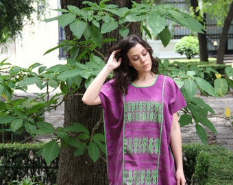 Private listing Purple and lime green  Huipil Dress Handwoven