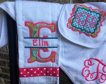 Blanket, Burpcloth  and Bib set