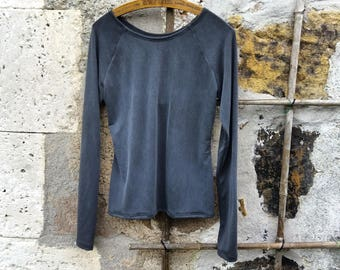Long sleeved top grungy grey womens modal natural fabric everyday basics tshirt minimalist style eco fashion dark ethical sustainable tops