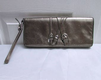 Rare Coach Handcrafted in Turkey Medium Size Distressed Leather Gold Metallic Leather Wristlet, Coach Gold Leather Clutch