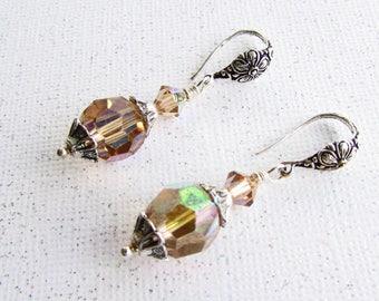 Vintage Swarovski Crystal and Silver Plate Earrings on Etsy by APURPLEPALM