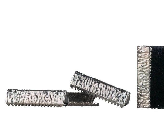 150 pieces 22mm or 7/8 inch Gunmetal No Loop Ribbon Clamp End Crimps - Artisan Series