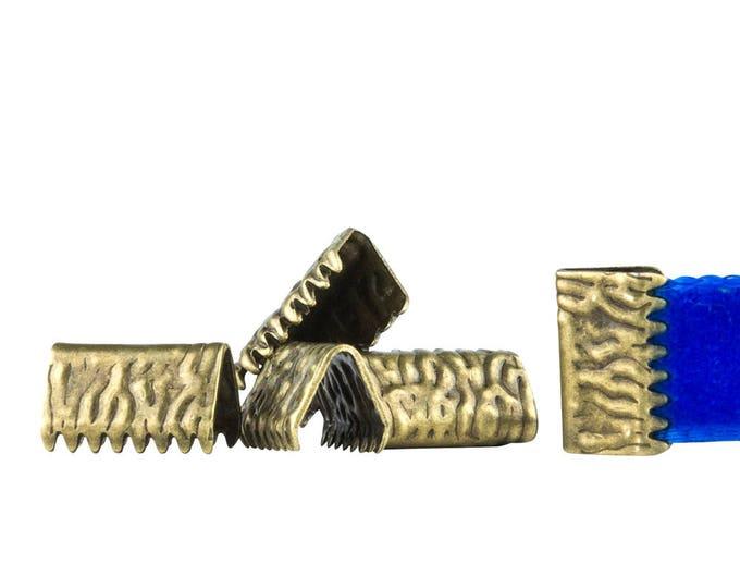 500pcs. 10mm or 3/8 inch *NO LOOP* Antique Bronze Ribbon Clamp End Crimps - Artisan Series
