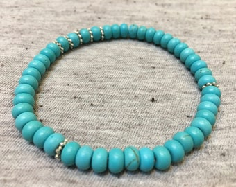 Turquoise Bracelet, Turquoise and Silver Jewelry, Stretchy Bracelet, Boho Jewelry, Womens Jewelry, Gifts for Her, Turquoise Jewelry