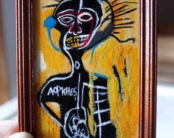 Miniature Painting Reproduction Art History Jean Michel Basquiat Art Cabeza Custom Collectables