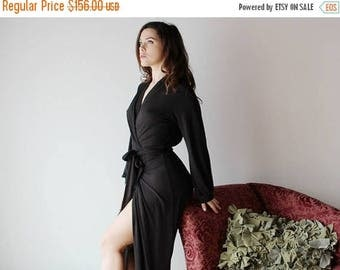 long bamboo robe with wrap style belts and bishop sleeves - ICON - made to order