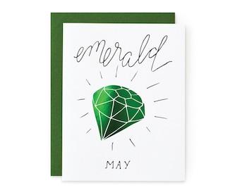 Emerald/May - letterpress card