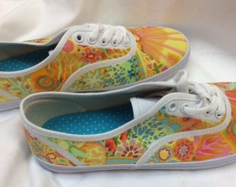 Fabric Collaged Shoes Technique by Lenore Crawford