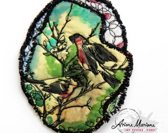 Birds Textile Art Pin, japanese inspired