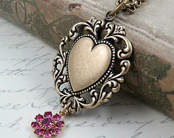 Lace Heart Necklace, Brass Heart Pendant, Art Deco, Pink Rhinestone Flower, Bridesmaid Necklace, Wedding Gift