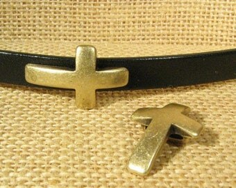 Curved Cross Sliders for 10mm Flat Leather - Antique Brass - Choose Your Quantity