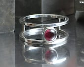 RESERVED FOR GAIL: Sterling Silver and Garnet Double Band Ring