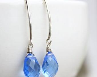 ON SALE Silver Swiss Blue Quartz Gemstone Earrings - Hook Earrings - Wire Wrapped