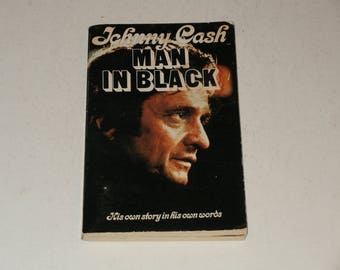 Johnny Cash - Man in Black-His Own Story in his own Words-Softcover 1975 Book with Photos-A Cool Vintage Book
