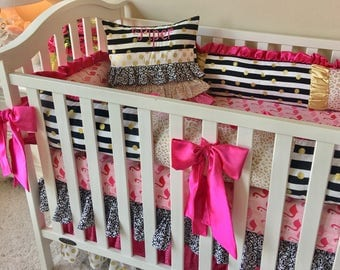 Pink Flamingo Bedding Sets for Baby Girls, Gold Dot Crib Set, Custom Baby Bedding Set, Luxury Baby Bedding, Hot Pink Crib Bedding, Gold Crib