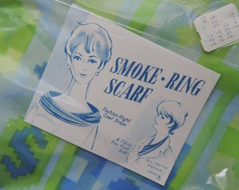 1960s smoke ring scarf NOS vintage lime and blue ikat print rayon ring scarf headband cowl drape new old stock