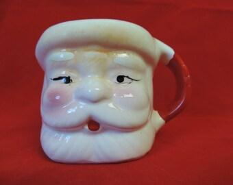 Santa ceramic mug vintage 1950s jolly egg nog coffee cup cocoa mug mixed media planter