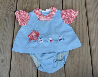 3 Little Pigs baby outfit vintage 1960s chambray and gingham appliqué dress and diaper cover set 3-6 months