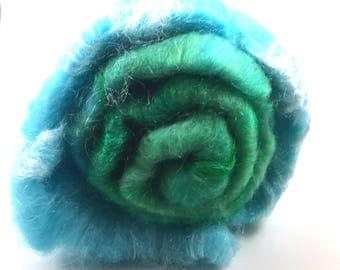 Spinning Fiber - Smooth Batt - Baby Alpaca and Firestar - Grass and Sky - 4.8 oz