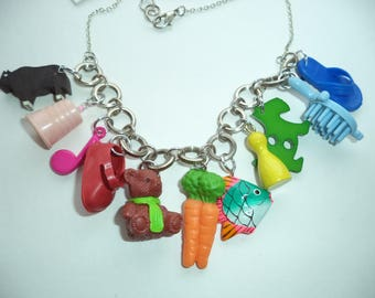 OOAK kitsch necklace - repurposed plastic toys - harajuku decora - rainbow chunky charms - fun childish jewellery - statement necklace