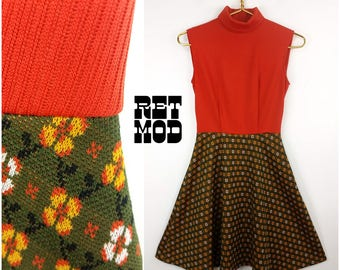 Retro Vintage 60s 70s Orange Polyester Sleeveless Scooter Dress with Patterned Skirt
