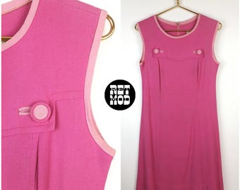 Fun Vintage 60s Bubblegum Pink Mod Linen Shift Dress