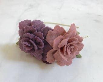 Purple Rose Flower Hair Accessory//Adjustable Metal or Elastic Band//Women and Girls//Romantic Bridesmaid Wedding Hair Piece//Customizable