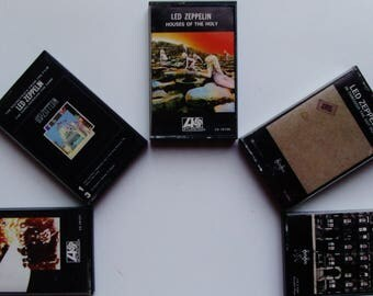 LED ZEPPELIN 5 Original Music Cassettes Vintage Matching Covers Cases Robert Plant Jimmy Page British Invasion Classic Rock Blues 1969-1979