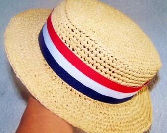 Sun Hat - Beach Hat - Photo Prop - Summer Hat - Sun Hat Bride - Straw Hat - Boater Hat - Straw Boater Hat - Canotier - Sun Hat Vacation