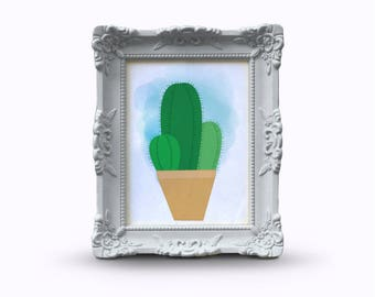 Cactus with watercolour background art print, birthday gift, gift for her, succulent print, Cacti Plant art, Cactus Plant art, Bedroom decor