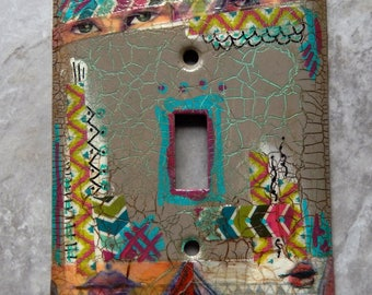 Boho See and Speak no Evil, mixed media switch plate cover, taupe paint with washi tape in geometric patterns, doodles and crackle finish