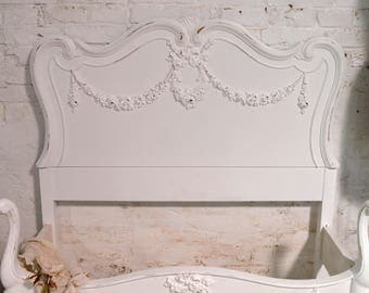 Painted Cottage Chic Shabby French Vintage Romantic Headboard BD778