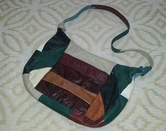 Patchwork Purse Patchwork Hobo Purse Leather Patchwork Purse 1970s Patchwork Leather Purse 1980s Leather Patchwork Purse Boho Purse Bohemian