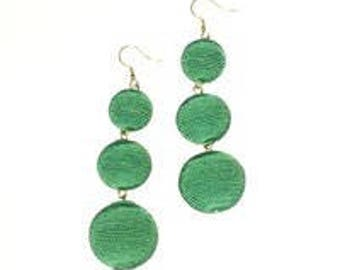 Green 3 ball Bon Bon style earrings.