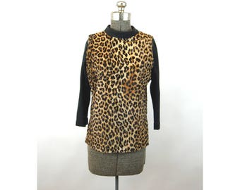 1960s leopard faux fur top animal print Halloween Designed by Norman  turtle neck Size M