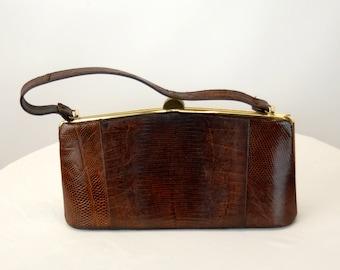 1950s lizard handbag brown reptile leather purse framed bag
