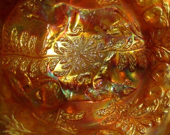 Antique Fenton Marigold Carnival Glass Panther Bowl Footed Heart Vine Circa 1911 Butterfly and Berry Exterior