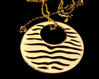 Vintage KJL Kenneth Jay Lane Necklace Statement Large Enamel Black White Stripe Wild Animal Zebra Disc