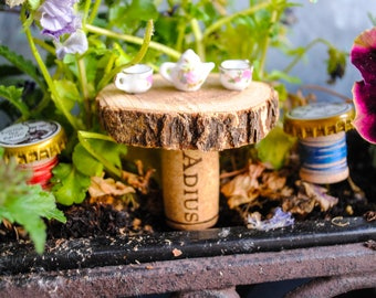 Tea for Two Fairy Garden Accessory - Handmade Table and Chairs, tea pot and tea cups, found things, fairy display