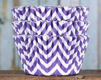 Purple Chevron Cupcake Liners, BakeBright Cupcake Liners, Purple Baking Cups, Cupcake Cases, Cupcake Wrappers, Wedding Cupcake Liners (50)