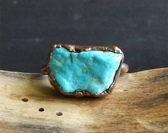 Turquoise Ring Raw Gemstone Birthstone Size 7 December Copper Jewelry Robins Egg Blue Midwest Alchemy
