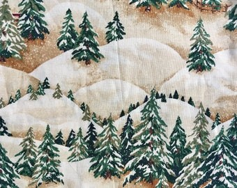 Pine Tree fabric Thimbleberries RJR Christmas Street, OOP, rare, snow scene holiday fabric remnant