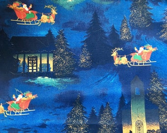 Christmas village fabric, OOP, rare, Santa Sleigh fabric, Cranston Village, Blue gold, one yard