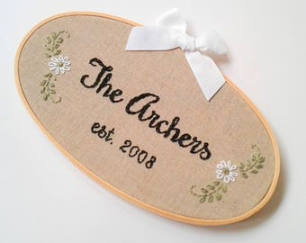 Personalized Embroidery, Custom Hoop Art, Last Name Wall Art, Bride to be, Linen Anniversary, Personalized Gift, Wedding Gift for Couple