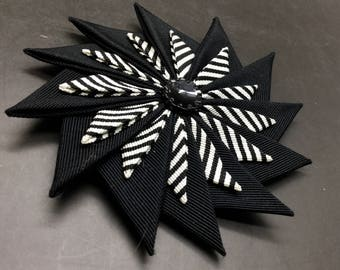 Black and White Striped Pinwheel Cocarde Cockade With Vintage Glass Button