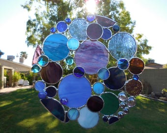 Stained Glass Bubble Panel-Suncatcher-Handmade-Unique gift Idea-Christmas-Birthday-Window Decor-House Warming-Wedding- Glass Art-Gifts