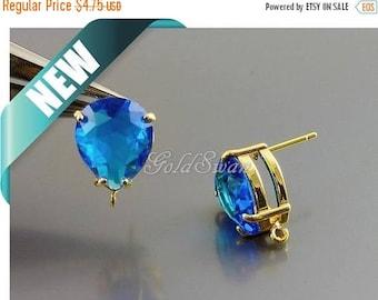 15% SALE 2 pcs / 1 pair cool blue capri blue glass upside down teardrop earrings, blue stone earrings 5159G-CB