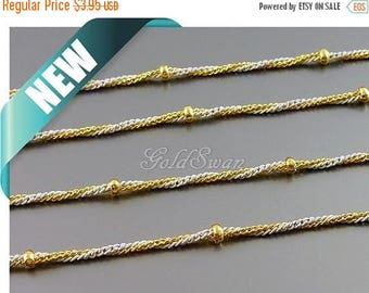 15% SALE 1 meter ivory & gold twisted bi color ball chain, bead chain, color satellite chain B145G-Iv (ivory and gold)